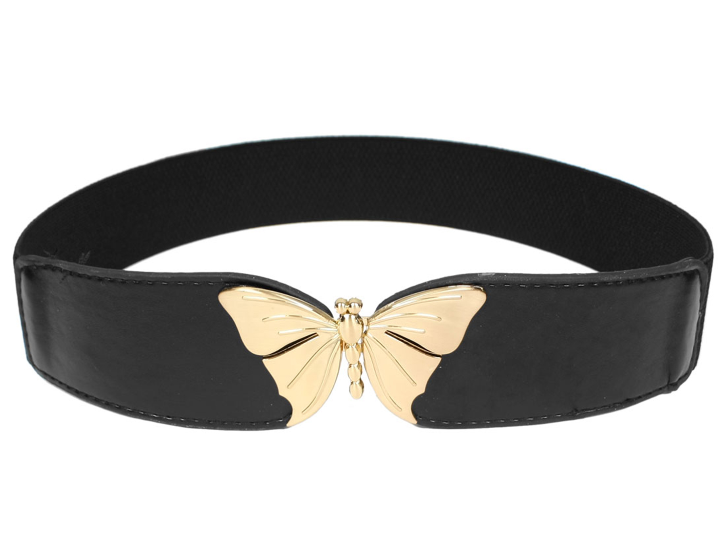 Butterfly Shape Metal Interlocking Buckle Waist Belt Waistband Black