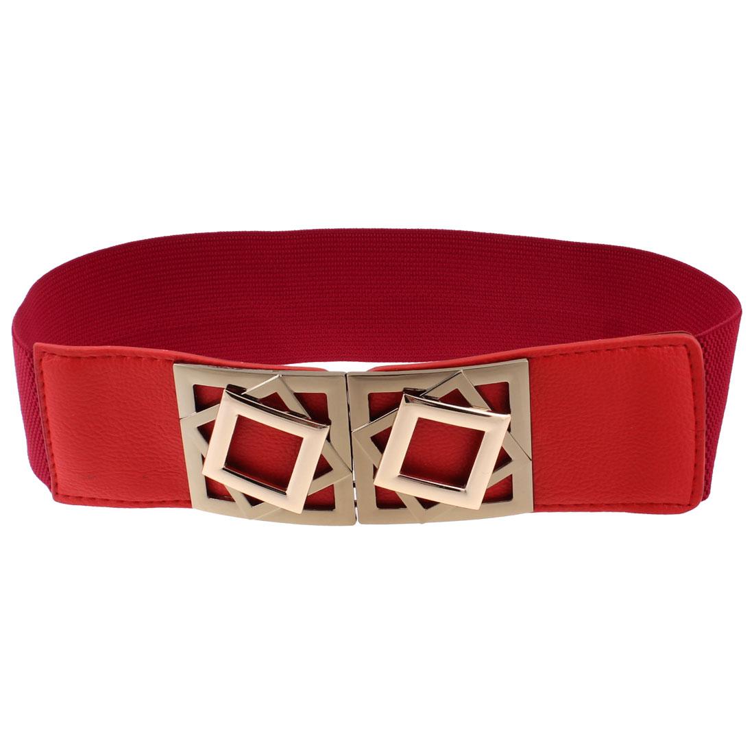 Women Red Lychee Pattern Interlocking Buckle Elastic Band Waist Belt