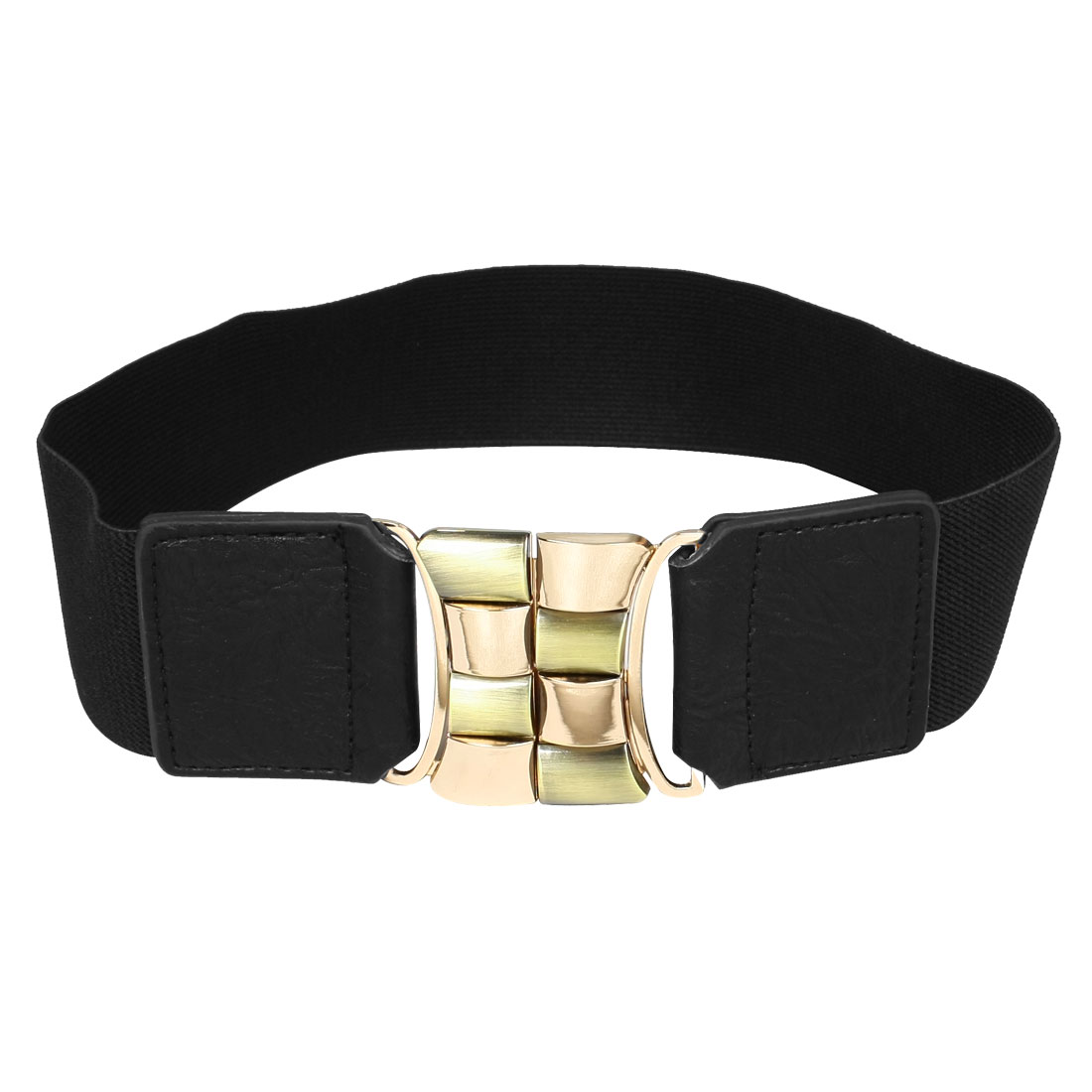 Black 5cm Wide Cinch Metal Interlocking Buckle Waist Belt for Ladies