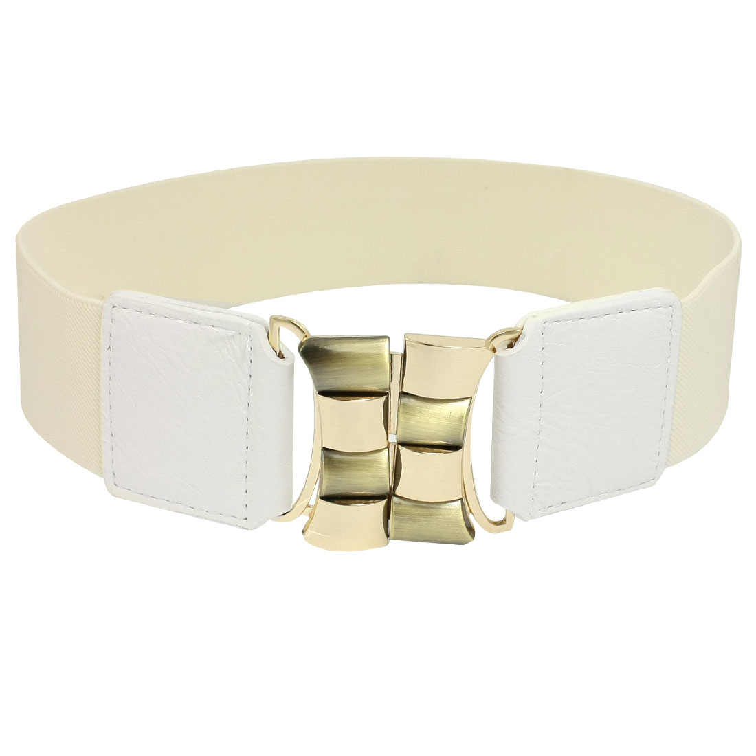 White 5cm Wide Cinch Metal Interlocking Buckle Waist Belt for Ladies