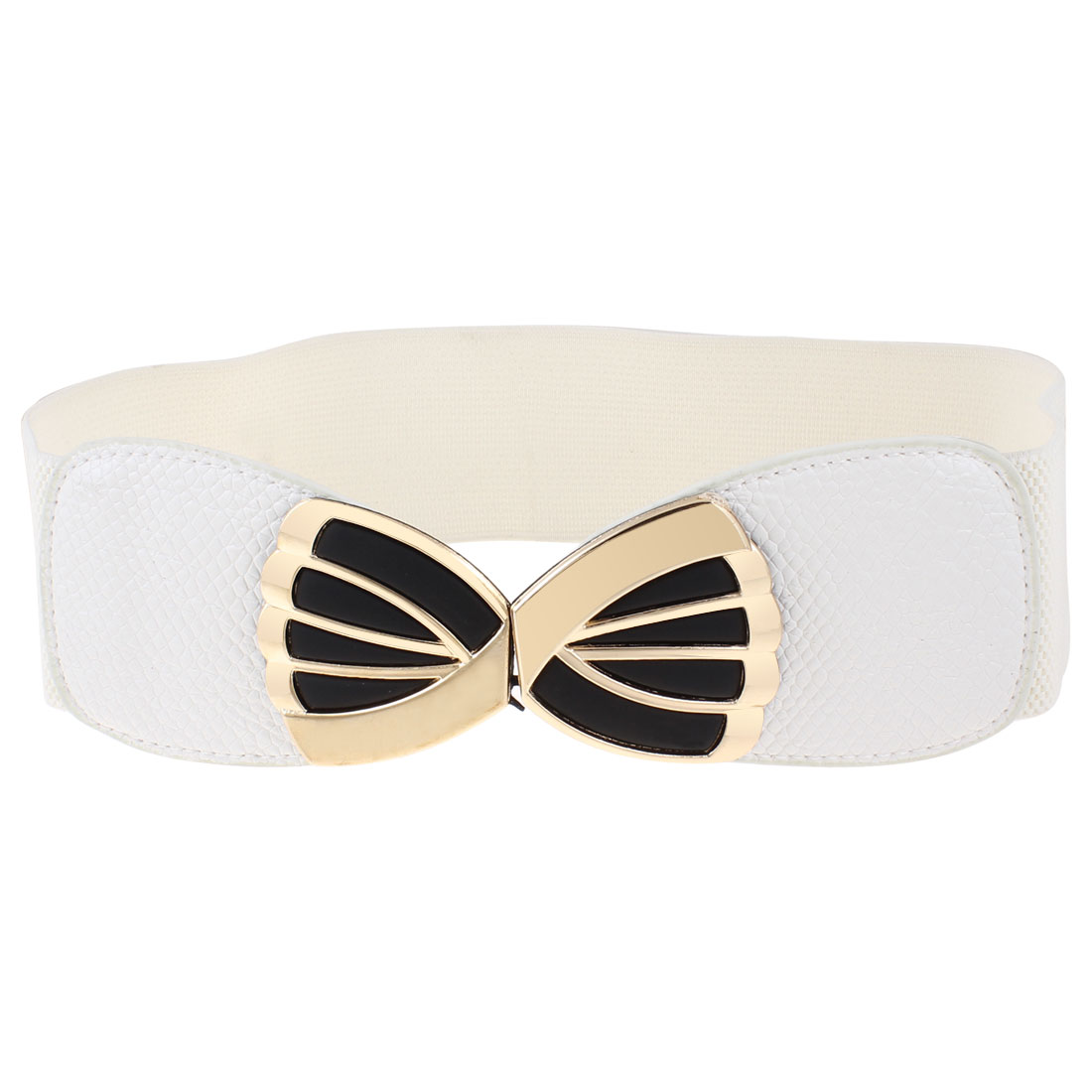 White Bowknot Shape Interlocking Buckle Elastic Band Waist Belt for Women