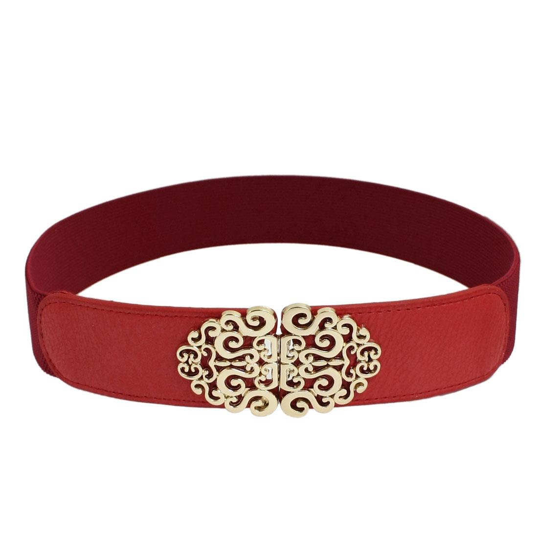 Ladies Gold Tone Interlocking Buckle Red Waist Belt Corset Band Cinch