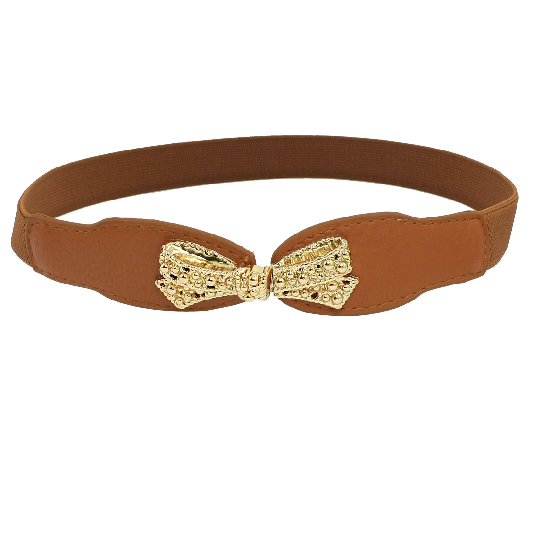 Lady Bowknot Style Interlocking Buckle Waist Belt Cinch Brown