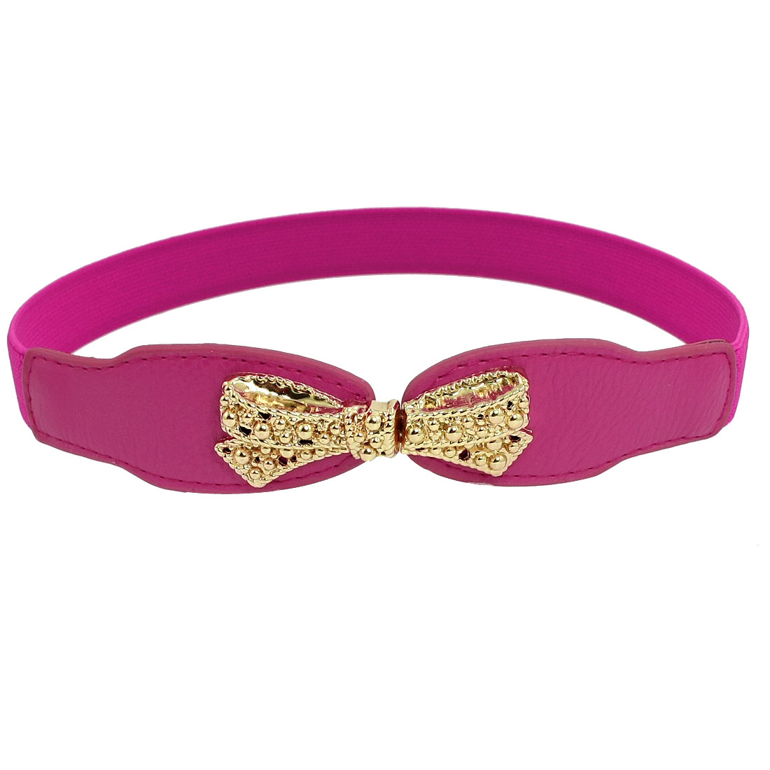 Lady Bowknot Style Interlocking Buckle Waist Belt Cinch Magenta