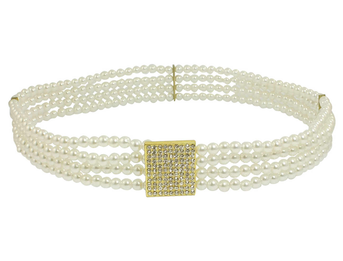 White Plastic Four Row Round Imitation Pearls Elastic Waist Belt for Lady