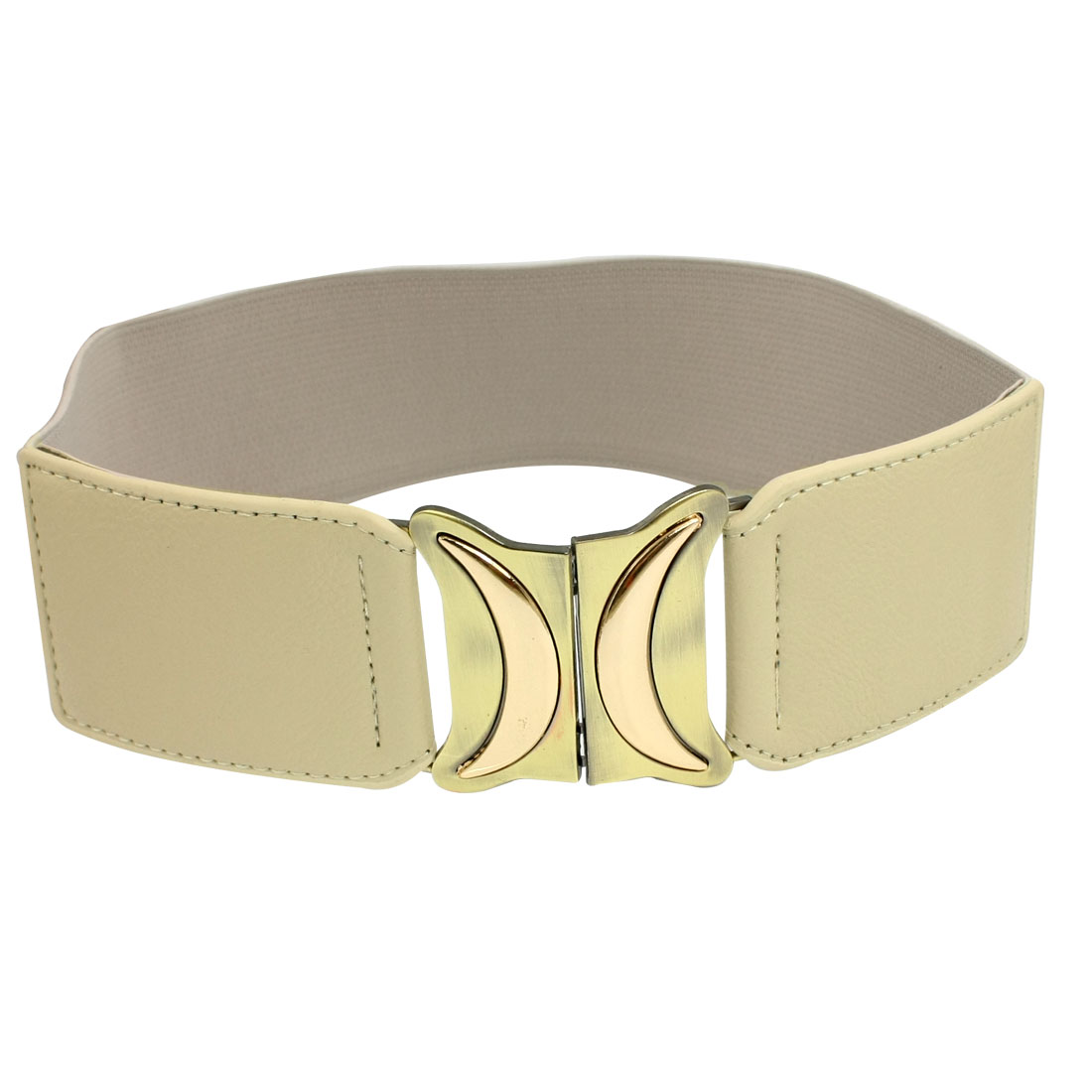 Metal Double Half Moon Decor Interlocking Buckle Waist Belt Cinch Gray