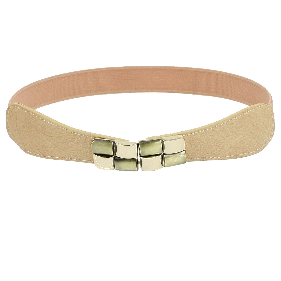 Pink Elastic Cinch Metal Interlocking Buckle Waist Belt for Women