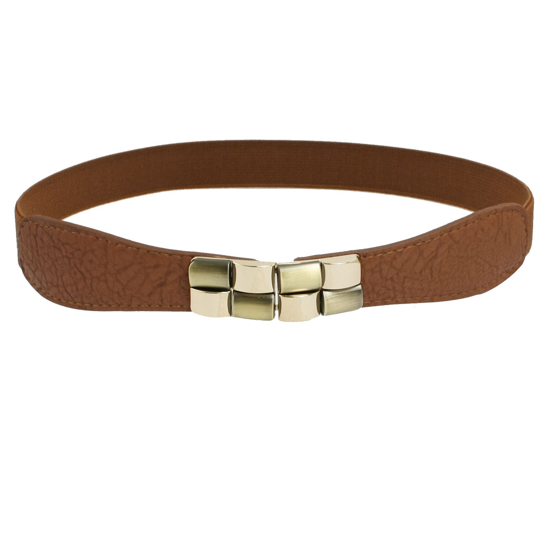 Brown Elastic Cinch Metal Interlocking Buckle Waist Belt for Women