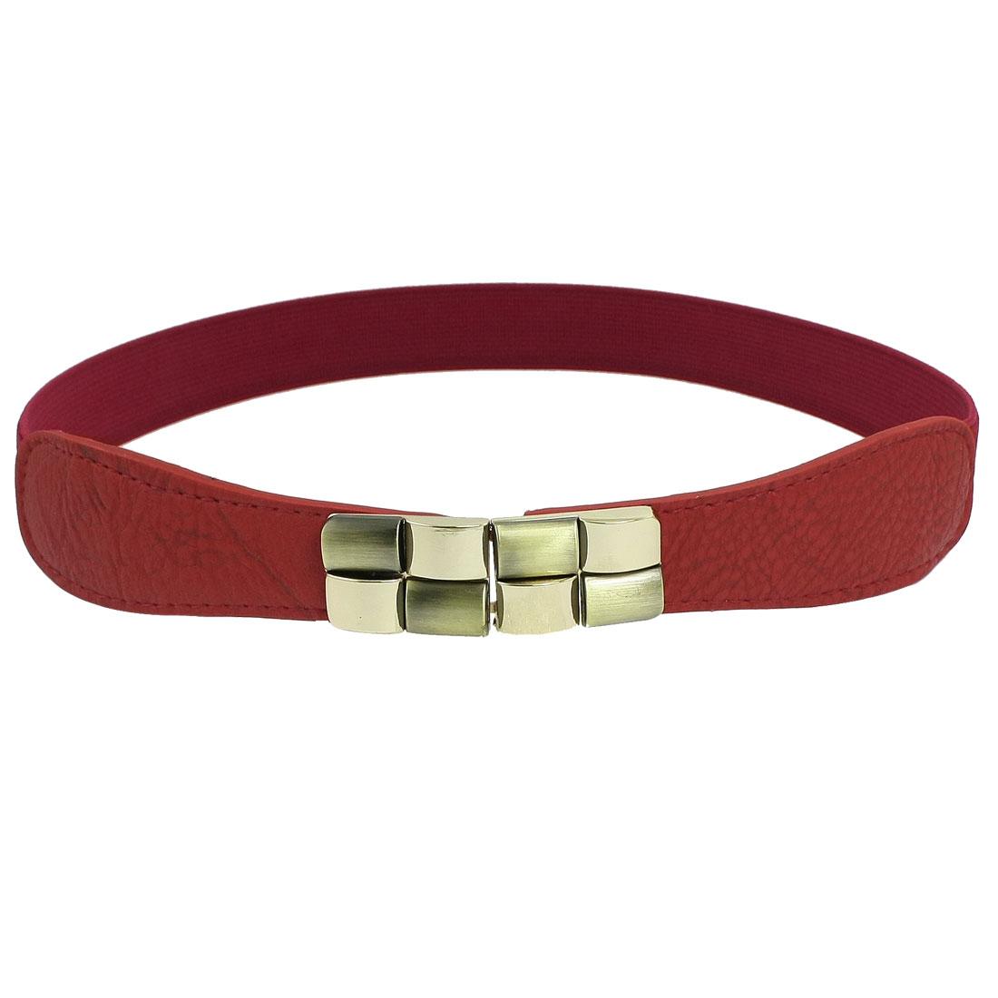 Red Elastic Cinch Metal Interlocking Buckle Waist Belt for Women