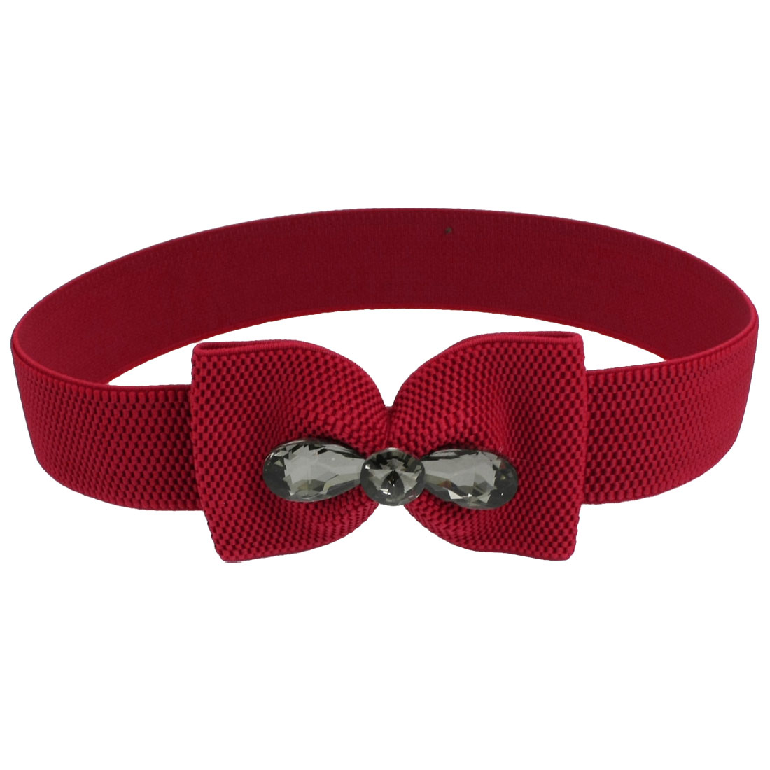 Lady Press Button Bowknot Buckle Waist Belt Corset Band Cinch Red