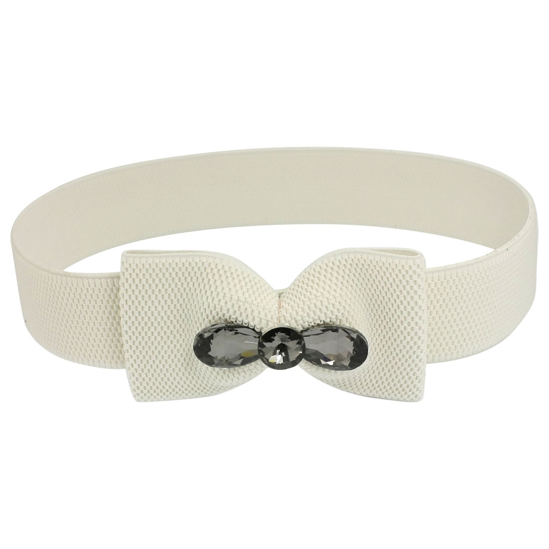 Lady Press Button Bowknot Buckle Waist Belt Corset Band Cinch White
