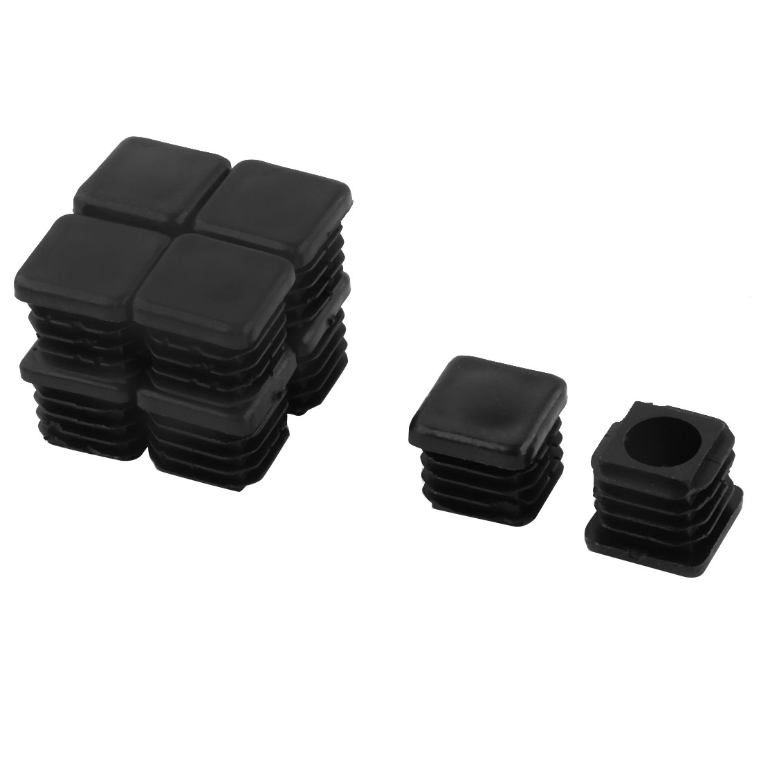 19mm x 19mm Plastic Square Tube Inserts End Blanking Caps Black 10 Pcs