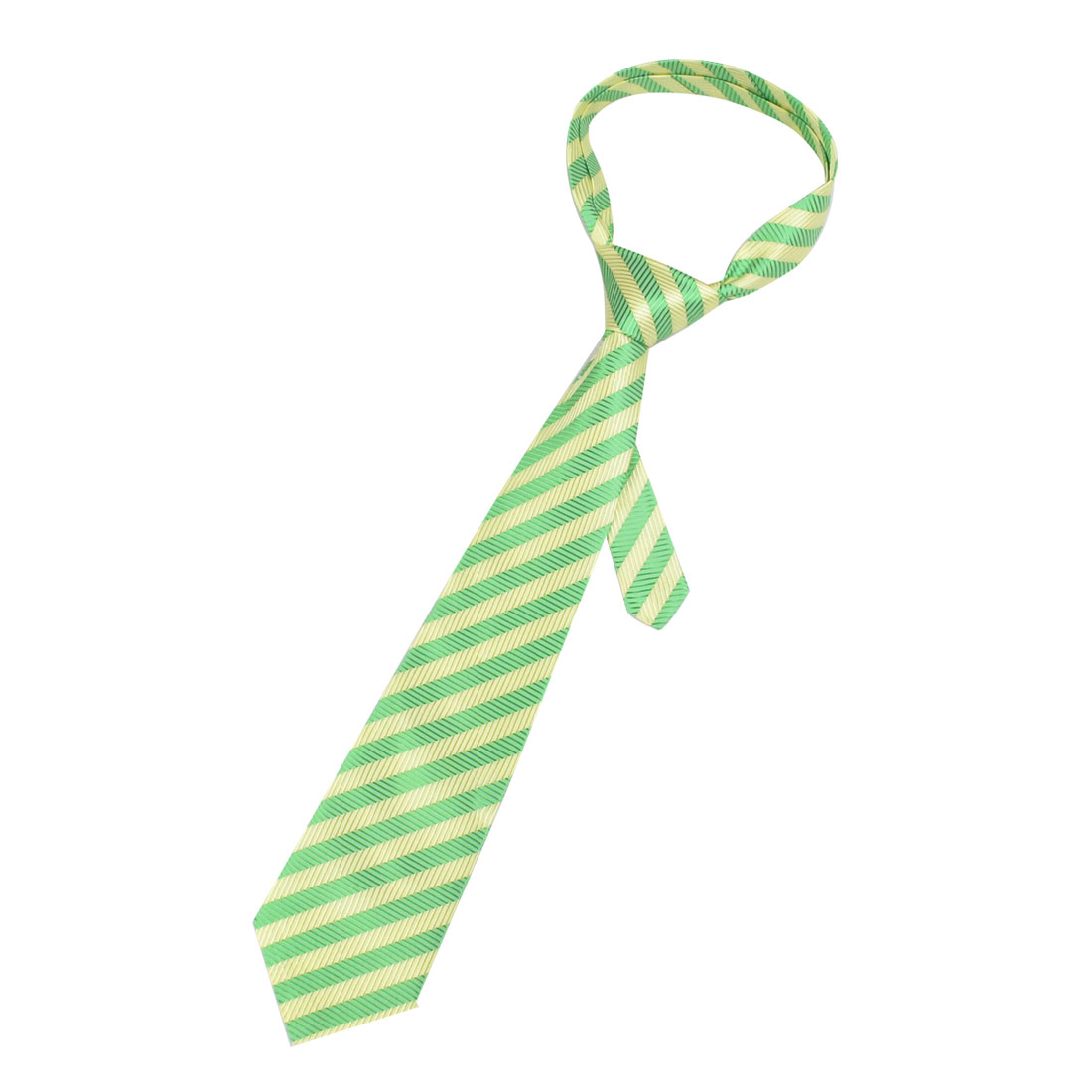10cm Wide Yellow Green Stripes Printed Polyester Self Tie Necktie for Men
