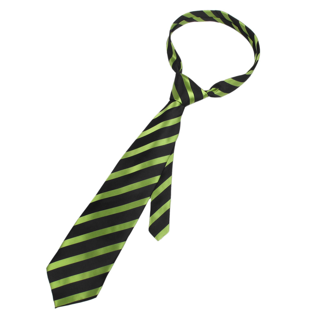 Men Diagonal Stripes Black Green Adjustable Neckwear Neck Tie