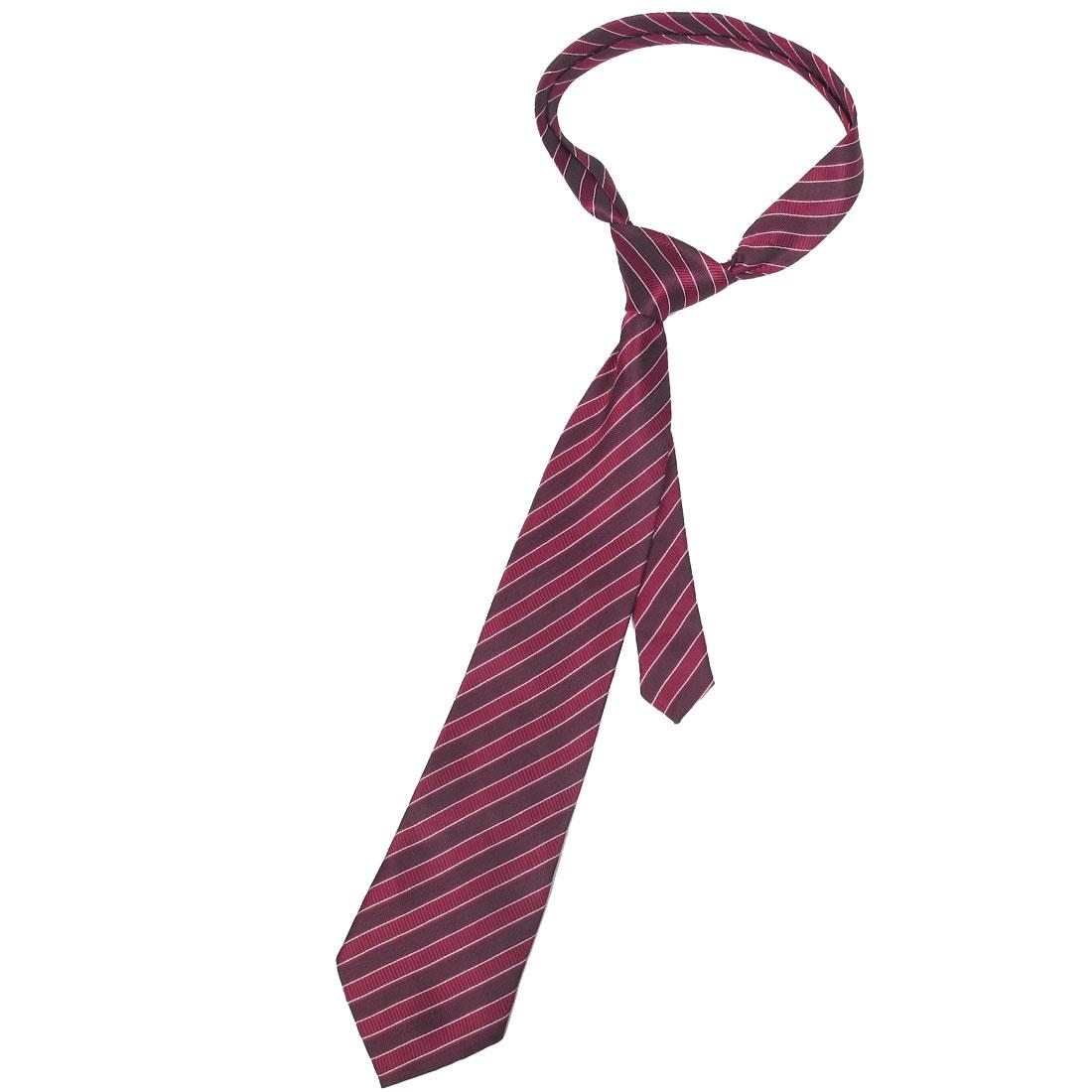 Men Man Slanted Striped Pattern Amaranth Red Polyester Tie Necktie
