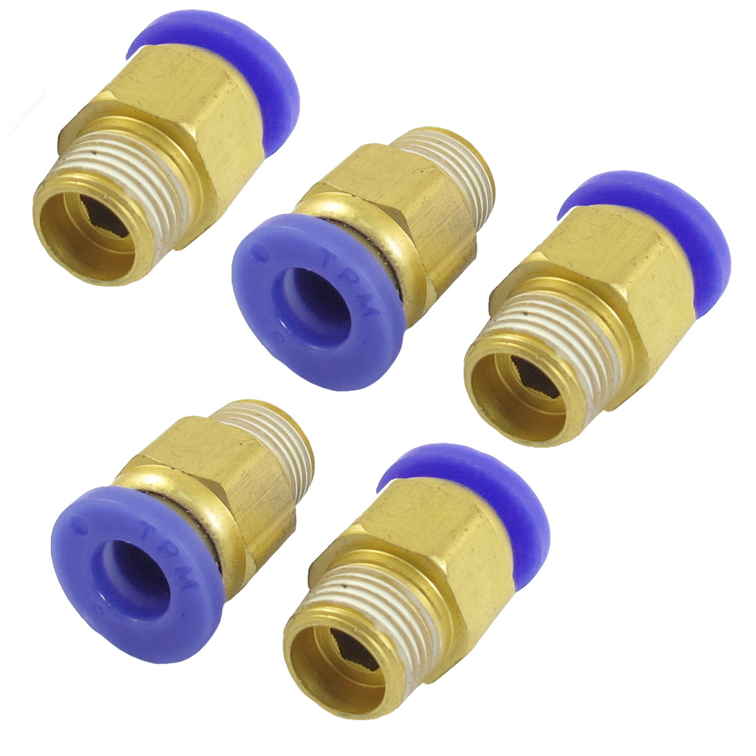 "6mm Hole 1/8"" PT Male Thread Straight Push in Tube Pneumatic Quick Fitting 5 Pcs"