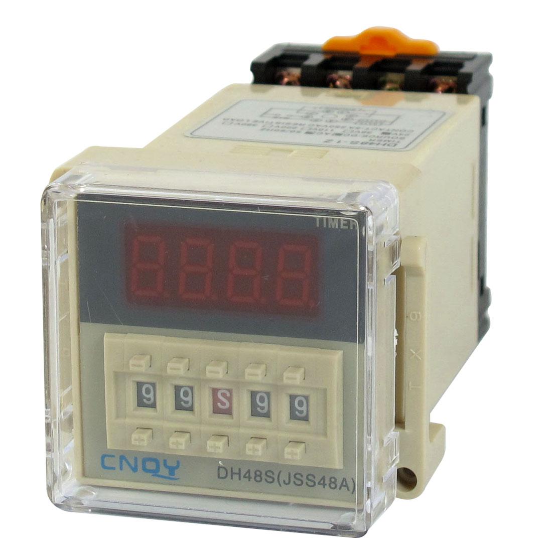 DC 24V SPST 8P 0.01S-99H99M Timer Delay DIN Rail Time Relay DH48S-1Z w Socket