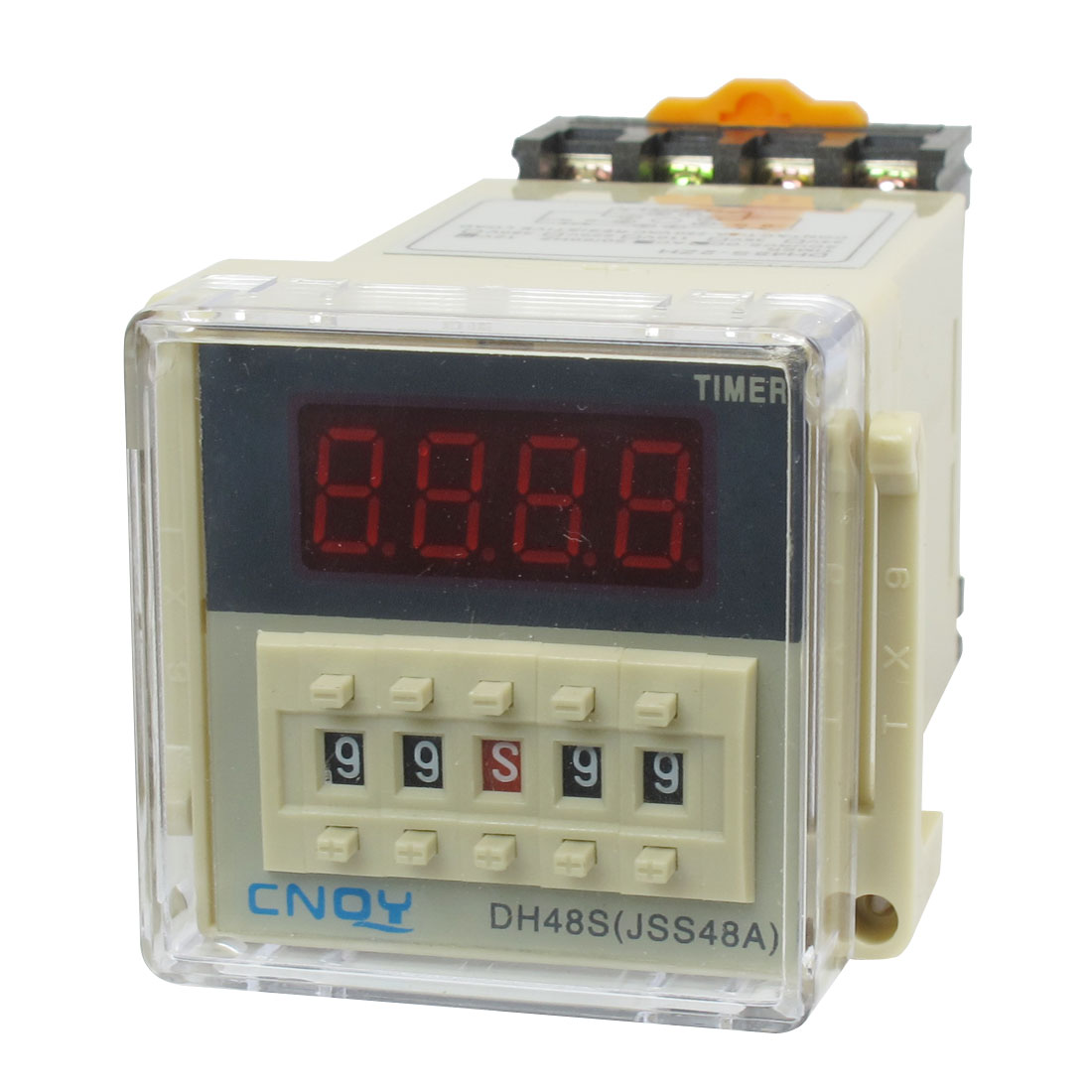 AC/DC12V DPDT 8P 0.01S-99H99M Timer Delay DIN Rail Time Relay DH48S-2ZH w Socket
