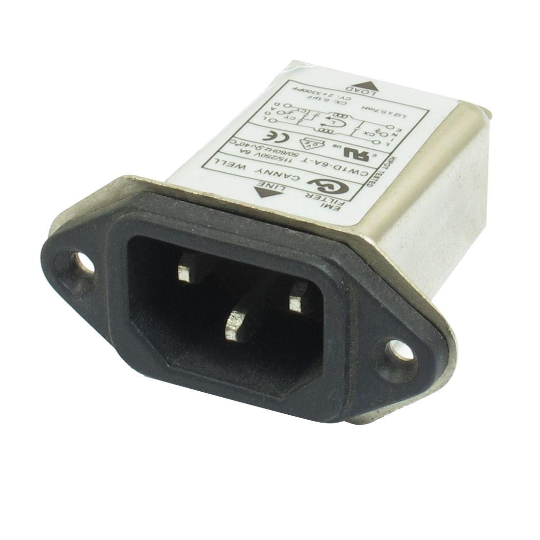 CW1D-6A-T IEC 320 C14 EMI Filter AC115V/250V 6A 50/60Hz