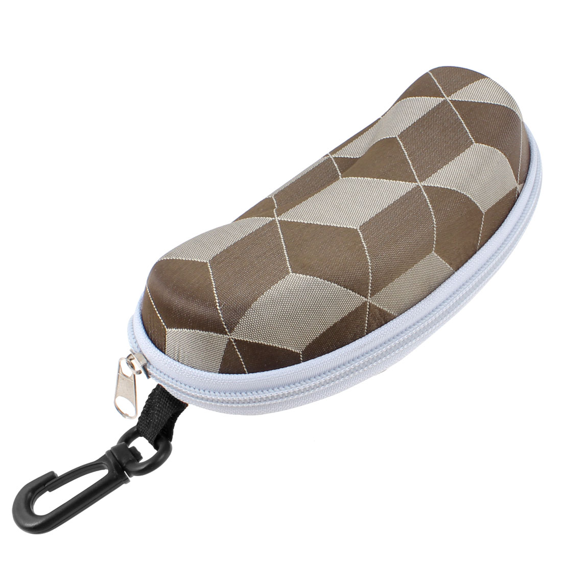 Grid Pattern Zip Up Sunglasses Eyeglasses Case Holder Chocolate w Hook