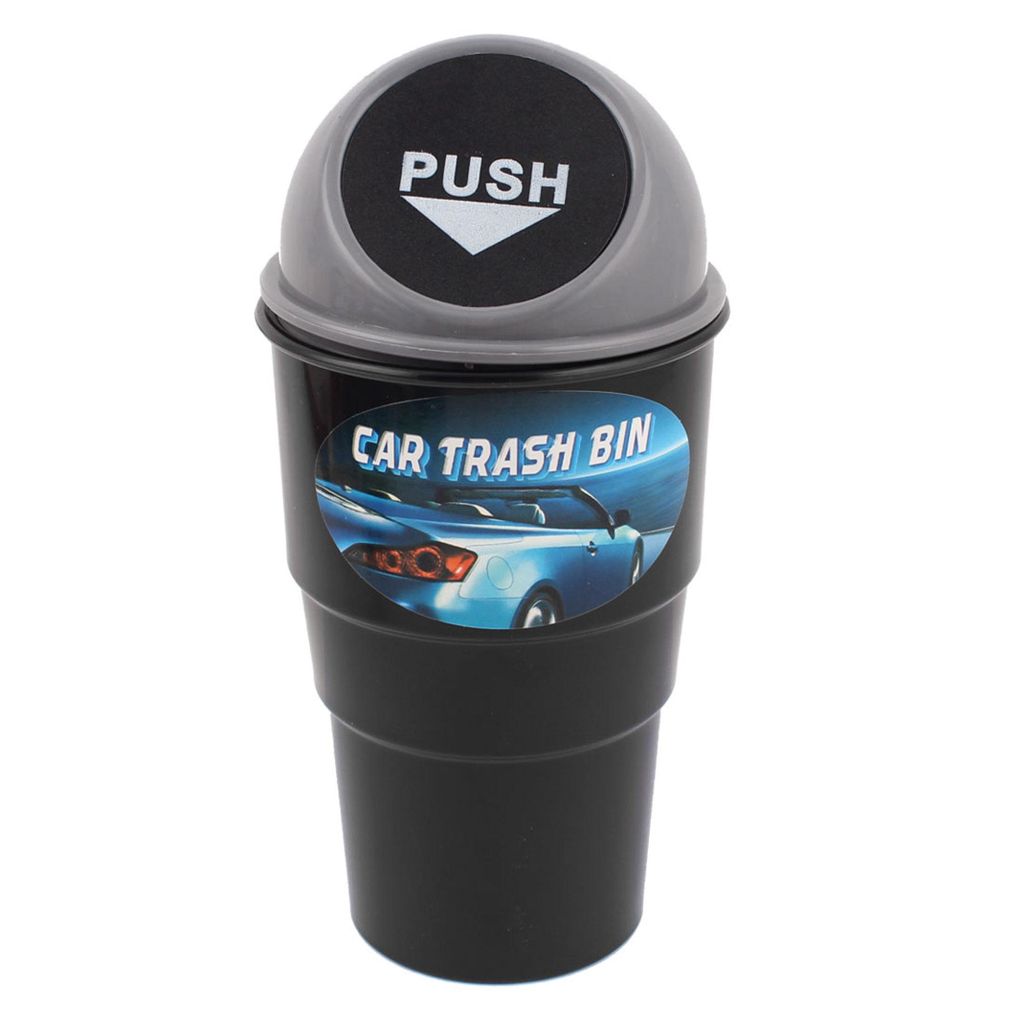 Plastic Body Car Trash Rubbish Can Garbage Dust Holder Box Gray
