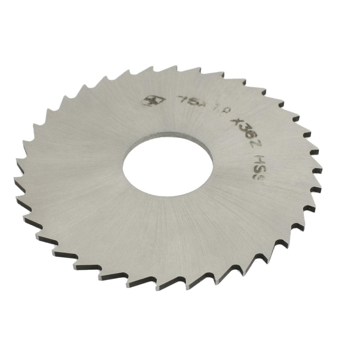 75mm x 1.8mm x 22mm Milling Cutter 36T Slitting Saw Silver Tone