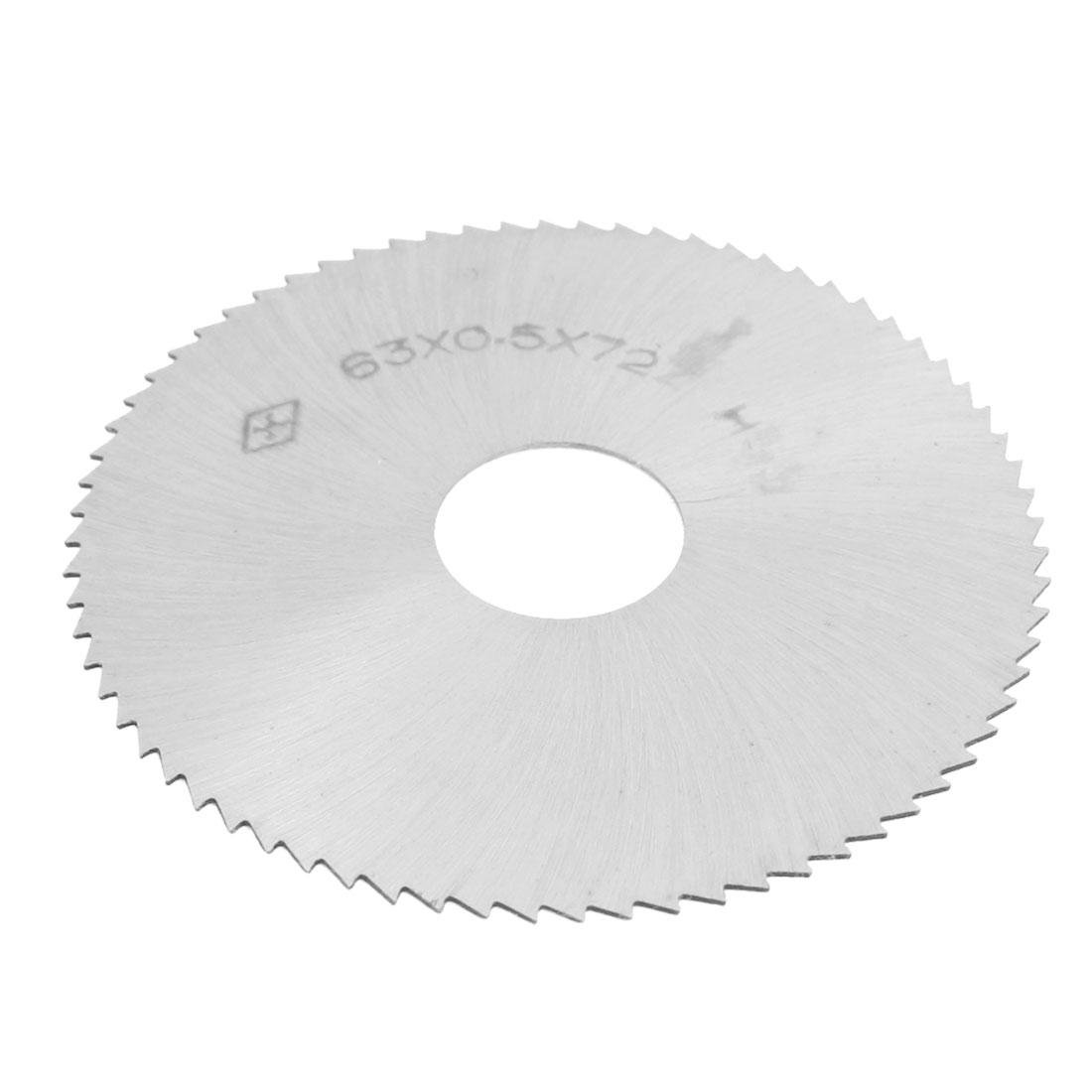 63mm x 0.5mm x 16mm HSS 72T Slitting Saw Cutting Tool Silver Tone