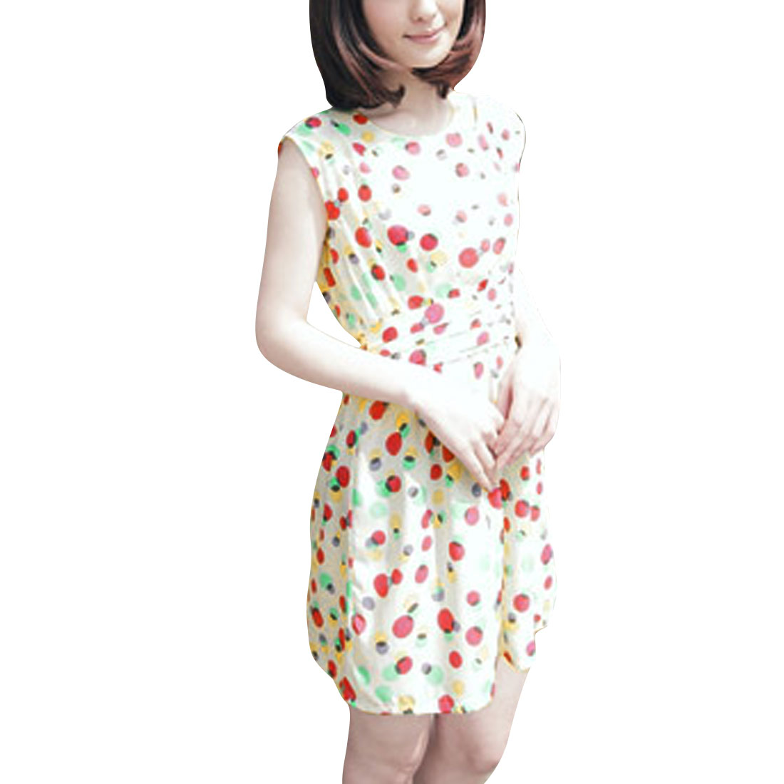 Ladies Dots Prints Above Knee String Round Neck Chic Dress Apricot S