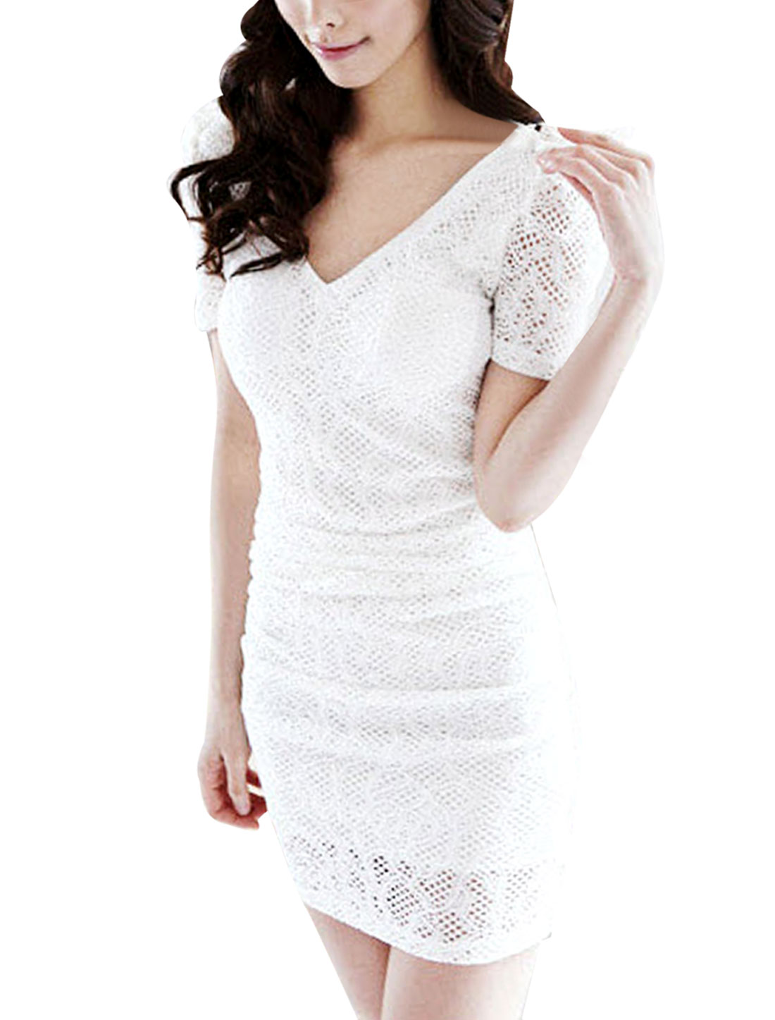 Women Concealed Zipper Back Bowtie Hollow Lace Stretch Dress White XS
