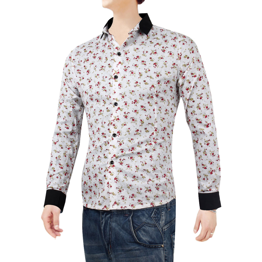 Mens White Contrast Color Long Sleeves Casual Autumn Shirt S