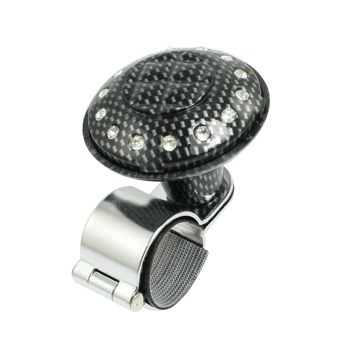 Rhinestone Detail Black Gray Car Steering Wheel Spinner Knob