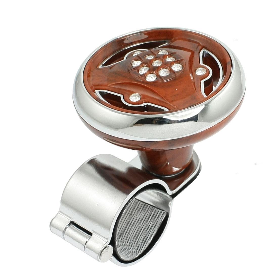 Rhinestone Detail Silver Tone Brown Car Steering Wheel Spinner Knob