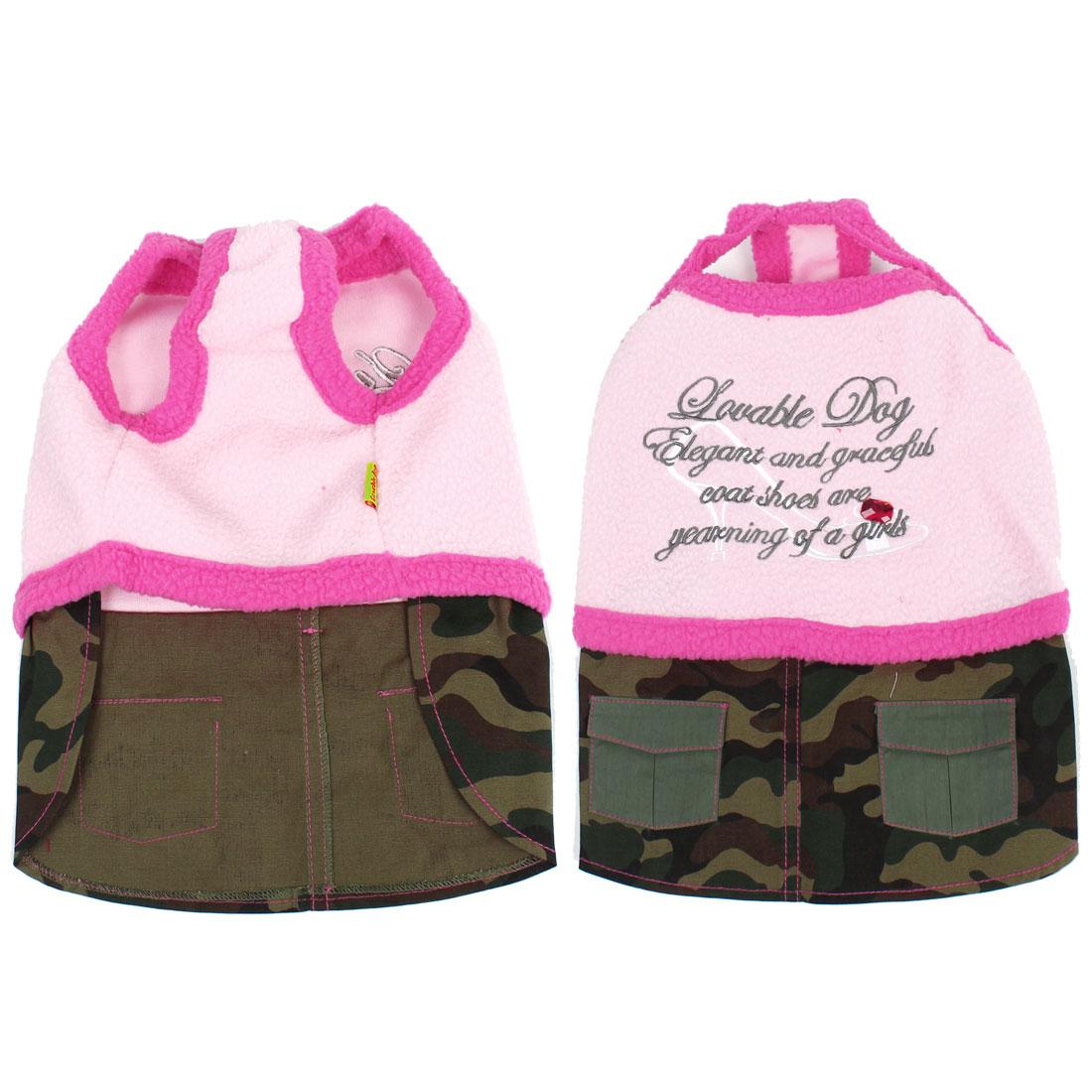 Lovely Pet Dogs Clothes Apparel Vest Dress Skirt Light Pink Size L