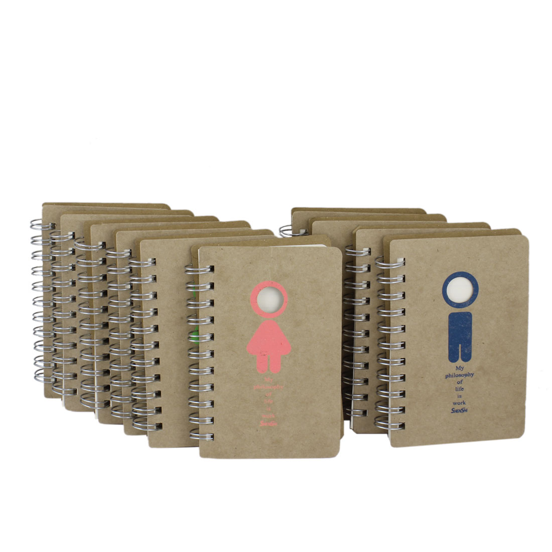 10 Pcs Beige Paper 70 Pages Gender Symbol Pattern Ring Spring Notebook