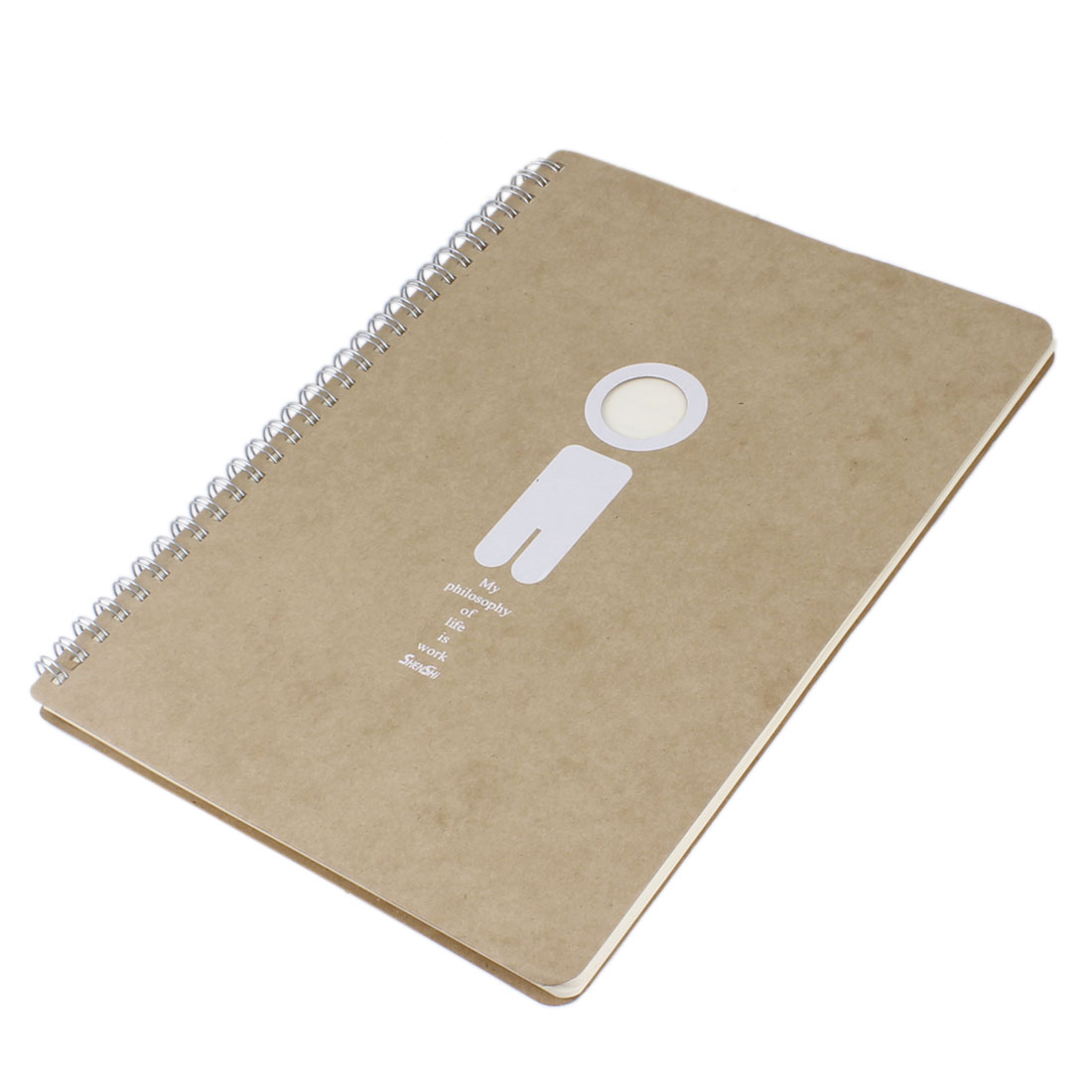 175mm x 252mm Beige Encouraged Sentence Print Paper Cover Ring Binder Notebook