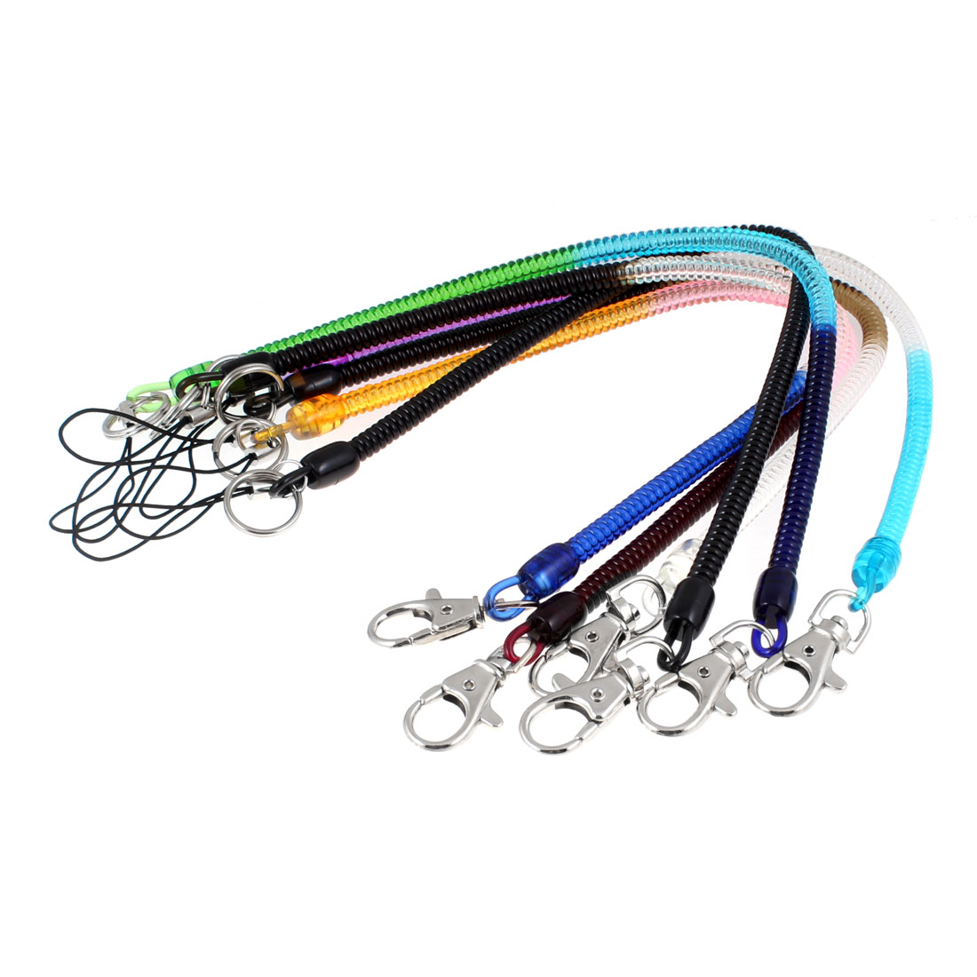 6 Pcs Lobster Clasp Assorted Color Stretchy Spring Coiled Strap Lanyard Keychain