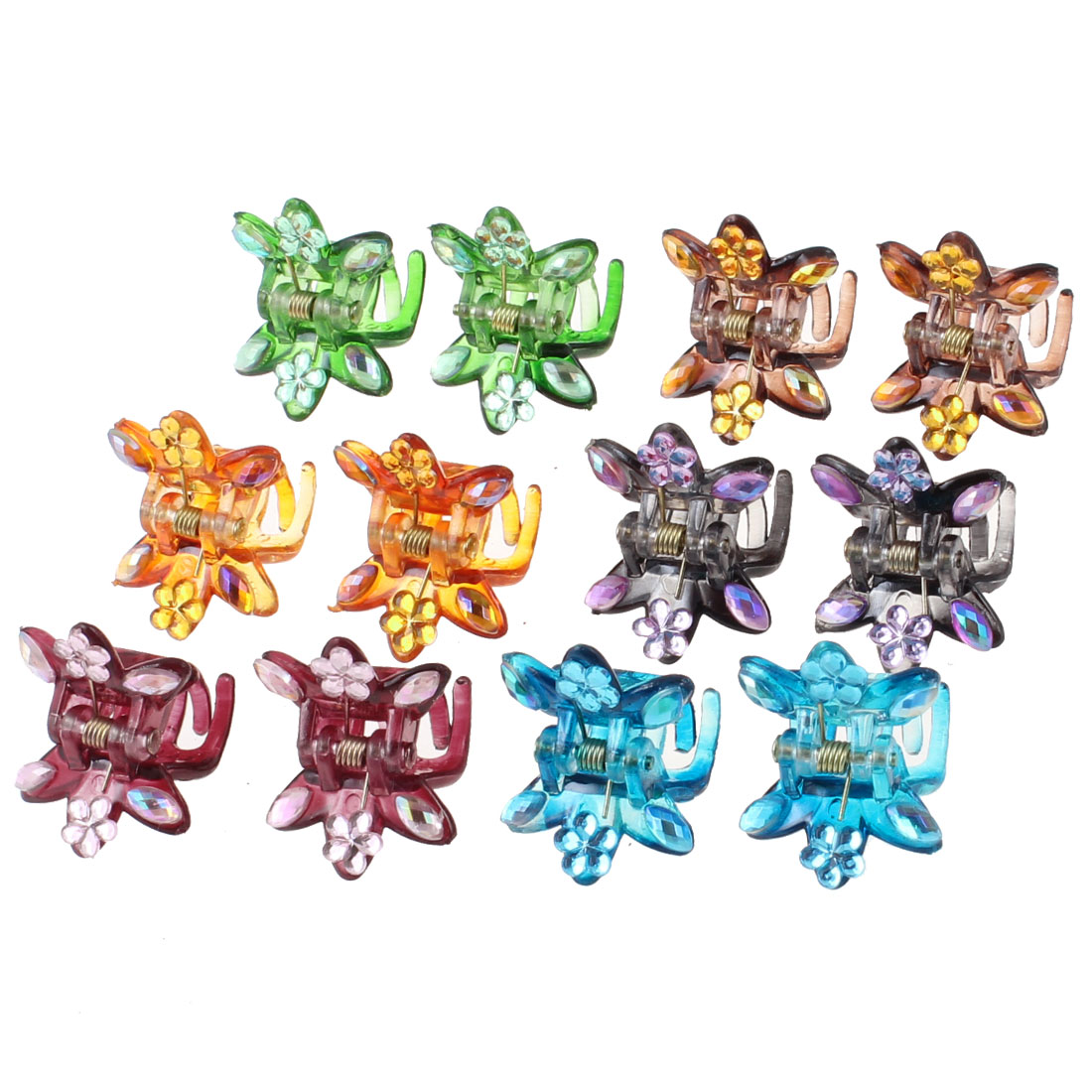 12 Pcs Crystal Flower Accent Assorted Color Plastic Hair Claw Clamp Clip