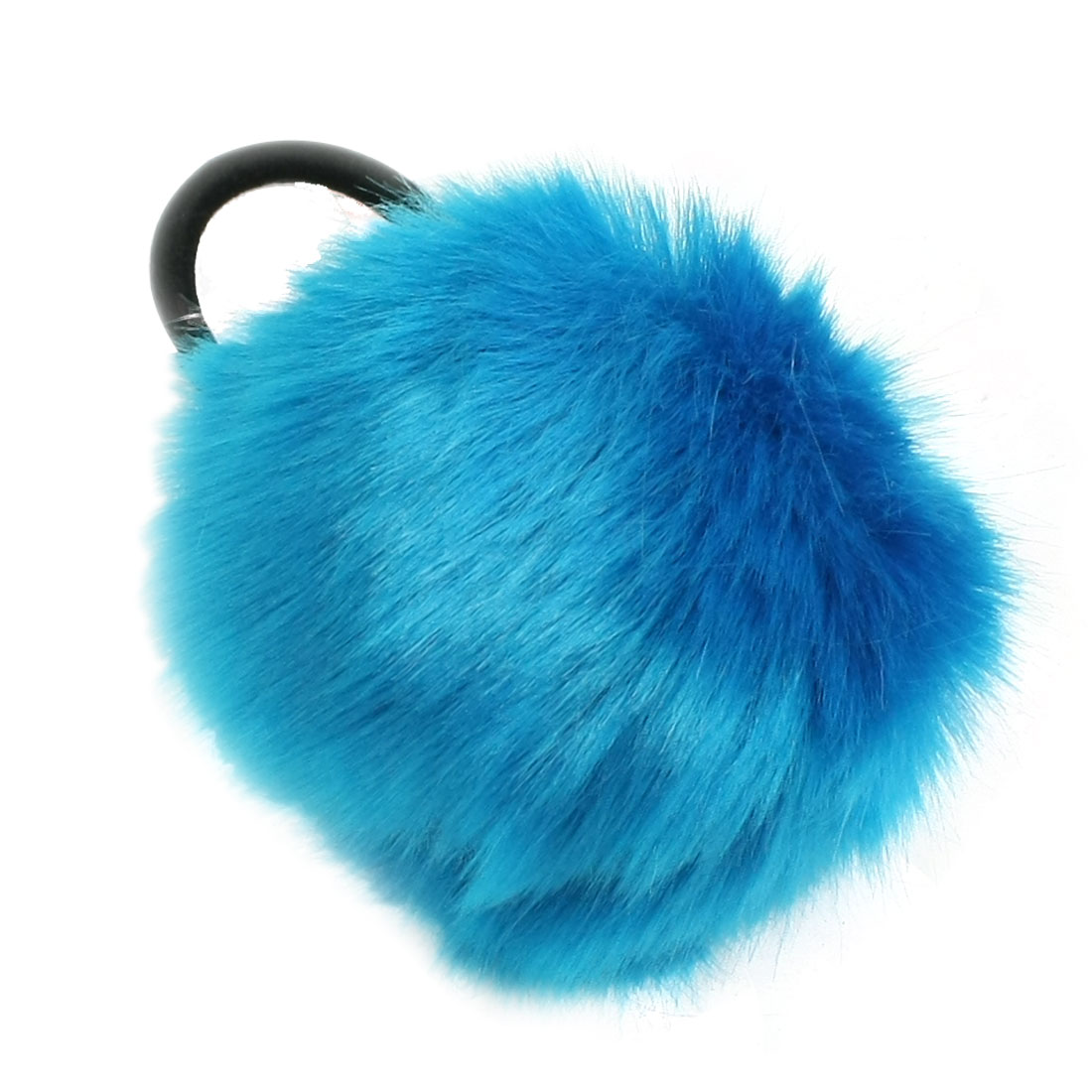 Blue Pom Pom Decor Black Stretchy Band Hair Tie Ponytail Hairband for Ladies