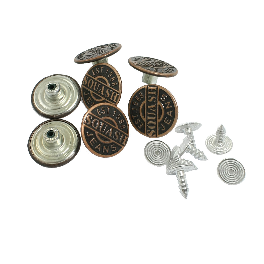 7 X Replacing Part Copper Tone Metal Carved Words Jeans Buttons
