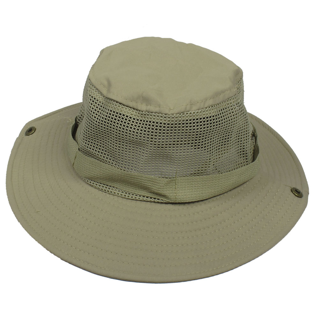 Wide Full Brim Grey Mesh Press Stud Fishing Hiking Sun Visor Hat