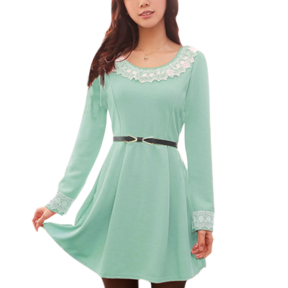 Ladies Light Green Peter Pan Collar Stretchy Pullover Mini Dress XS
