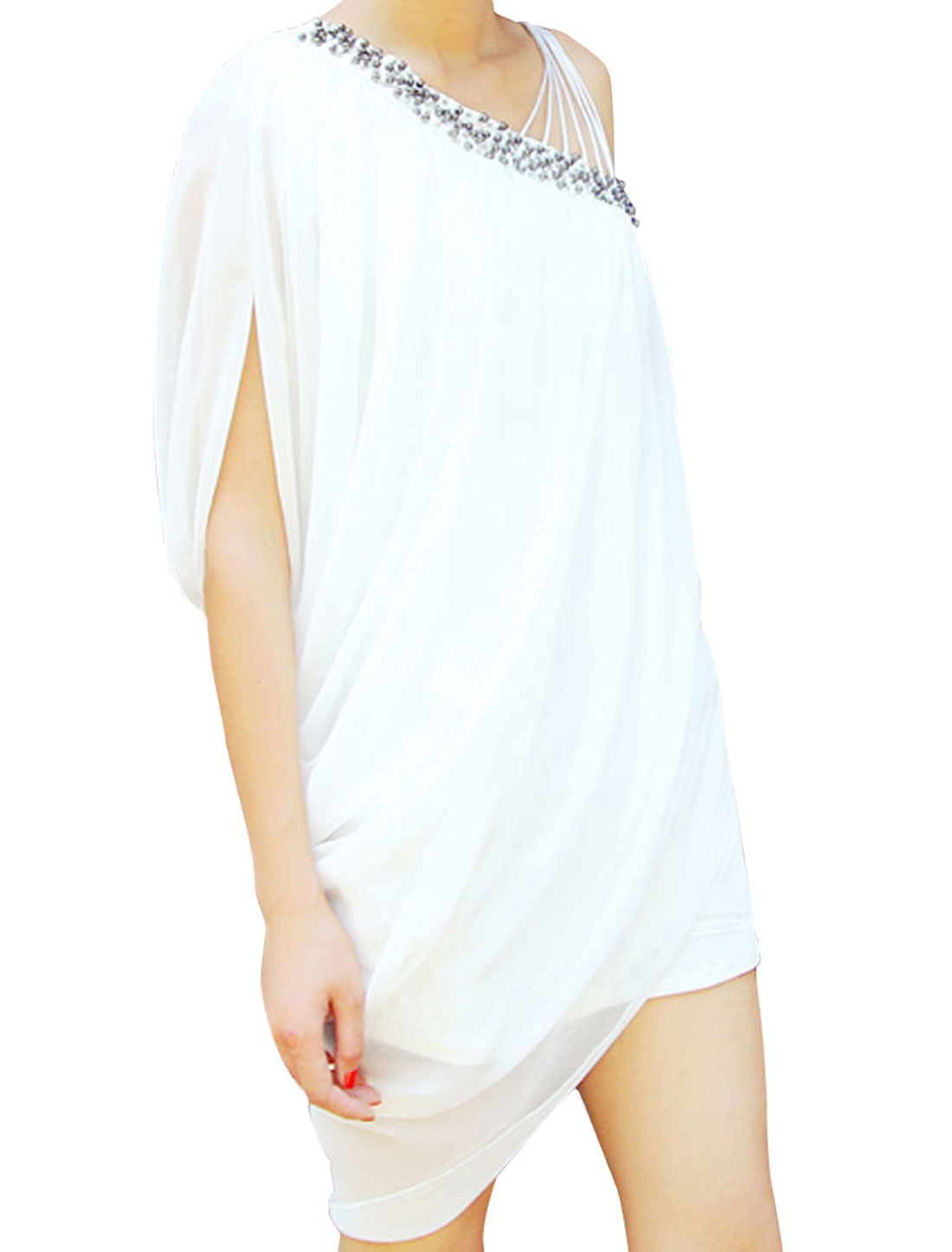 Ladies White Beads Embellished One Shoulder Casual Summer Tunic Shirt XS
