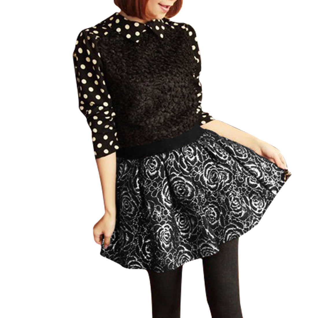 Women High Waist A-line Floral Prints Mini Chic Skirt Silver Tone XS