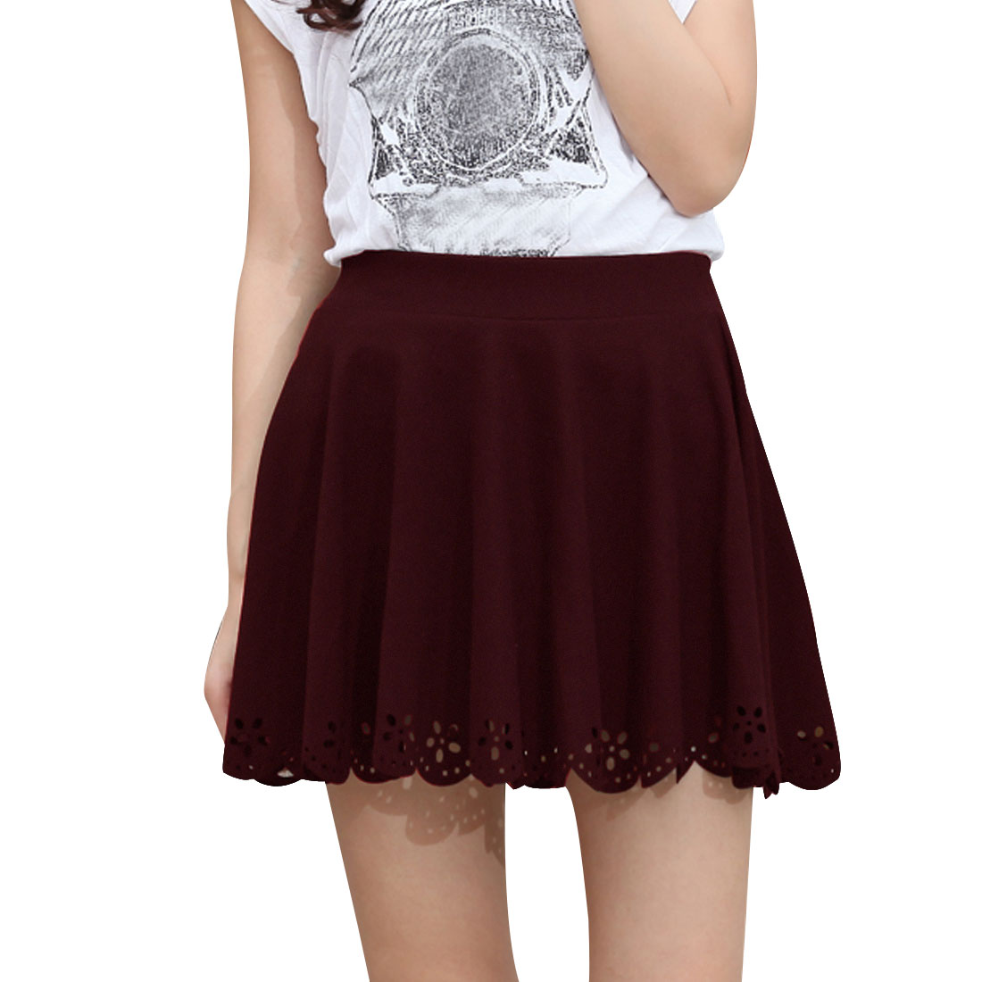 Ladies Burgundy Elastic Waist Flowers Shape Slim A-line High Waist Skirt XS