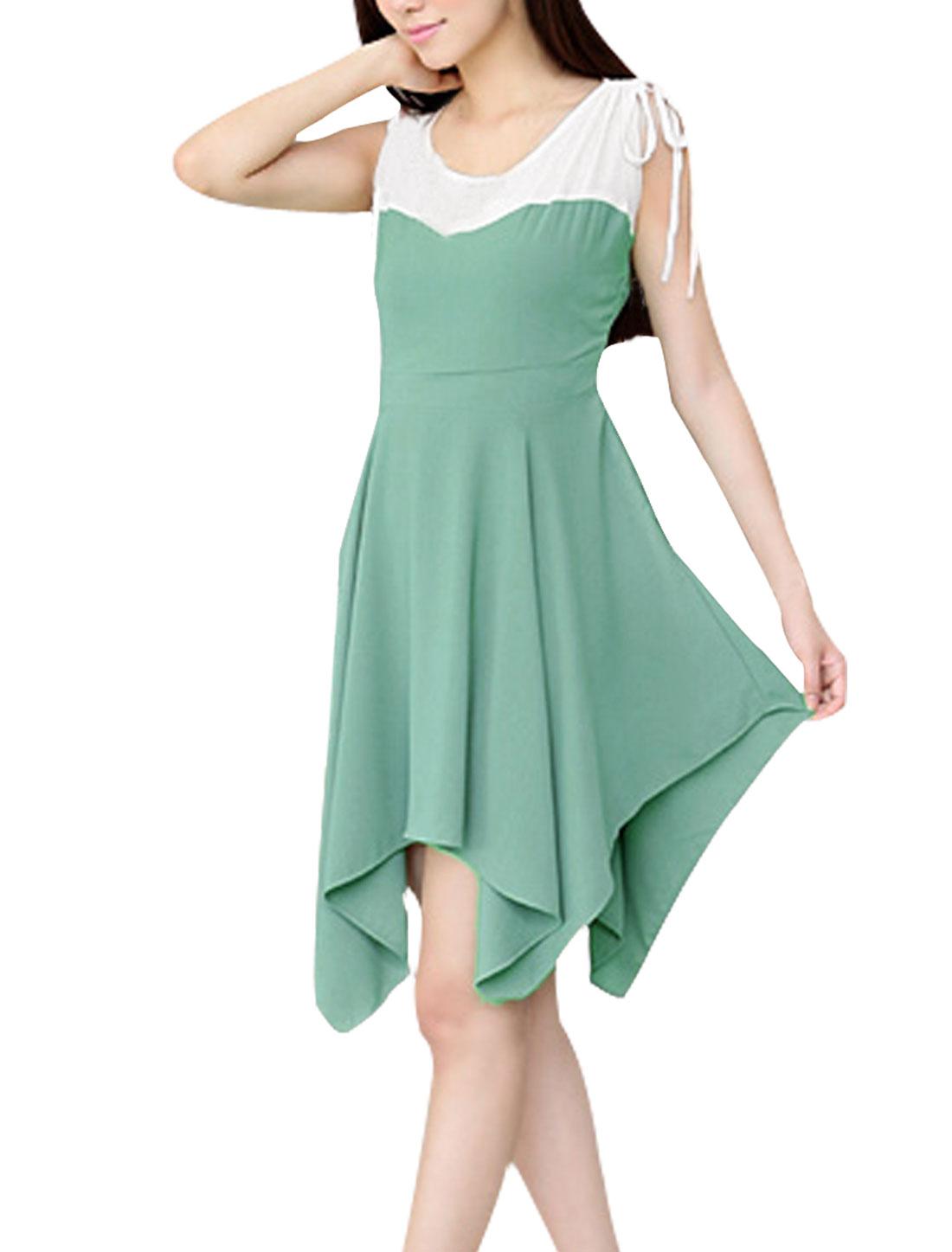 Ladies Light Green Drawstring Gathered Detail Sleeveless Chiffon Dress XS