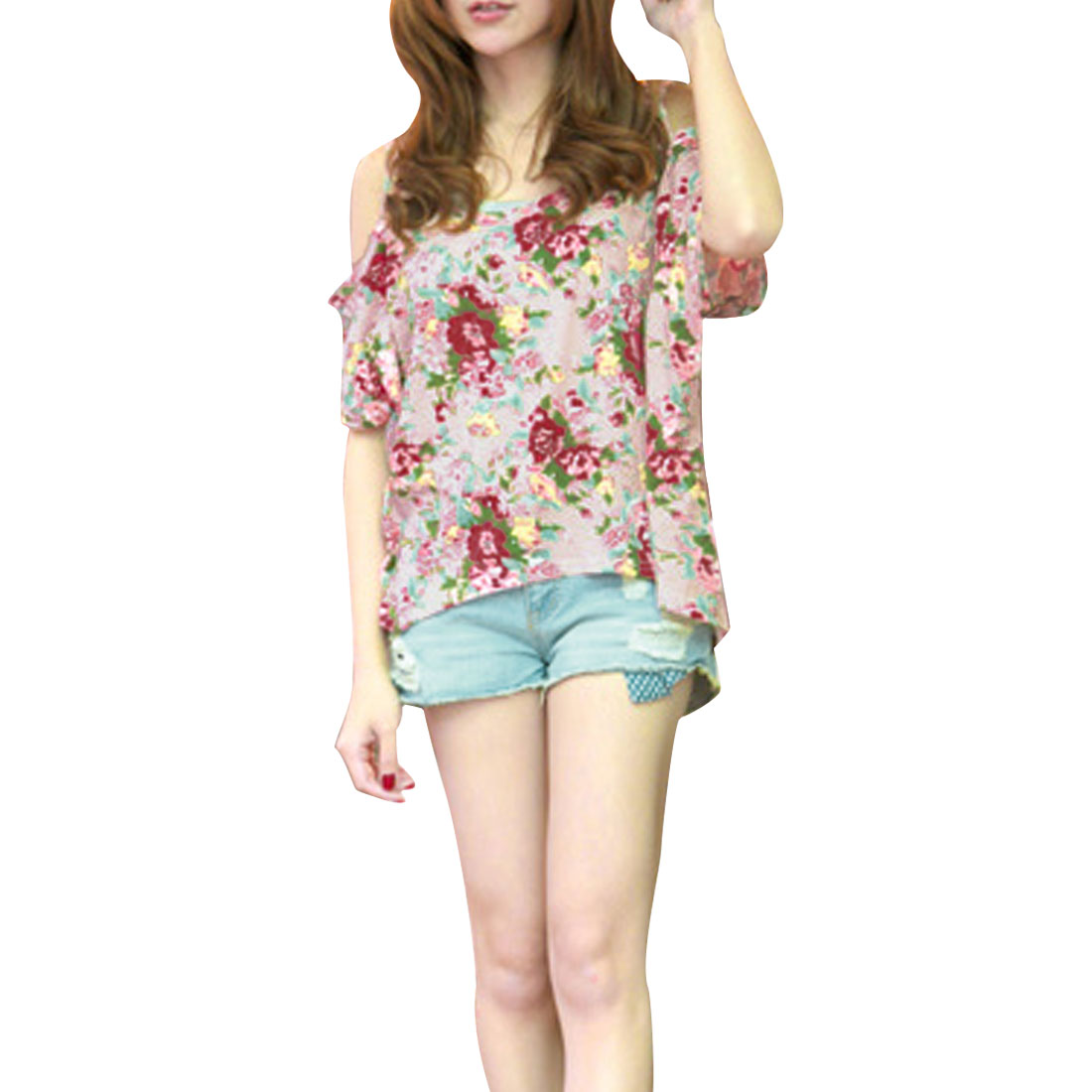 Women Floral Prints Short Sleeve Loose Tops w Stretchy Tank Top Pink XS