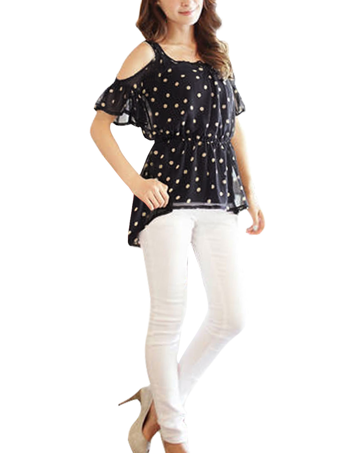 Ladies Black Dots Pattern Shirred Detail Casual Chiffon Shirt XS