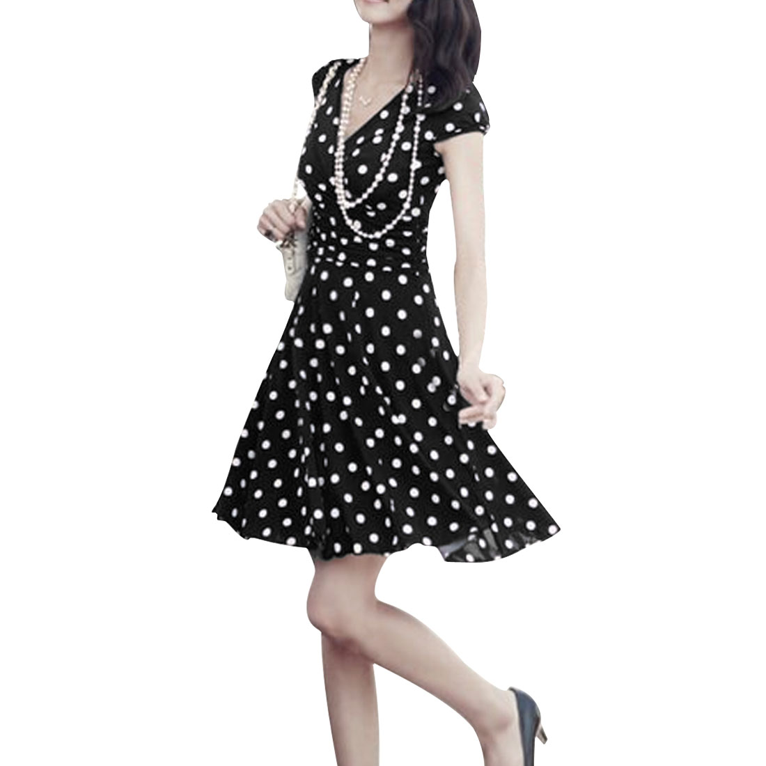 Ladies Dots Prints Above Knee Chiffon Concealed Zipper Side Dress Black XS