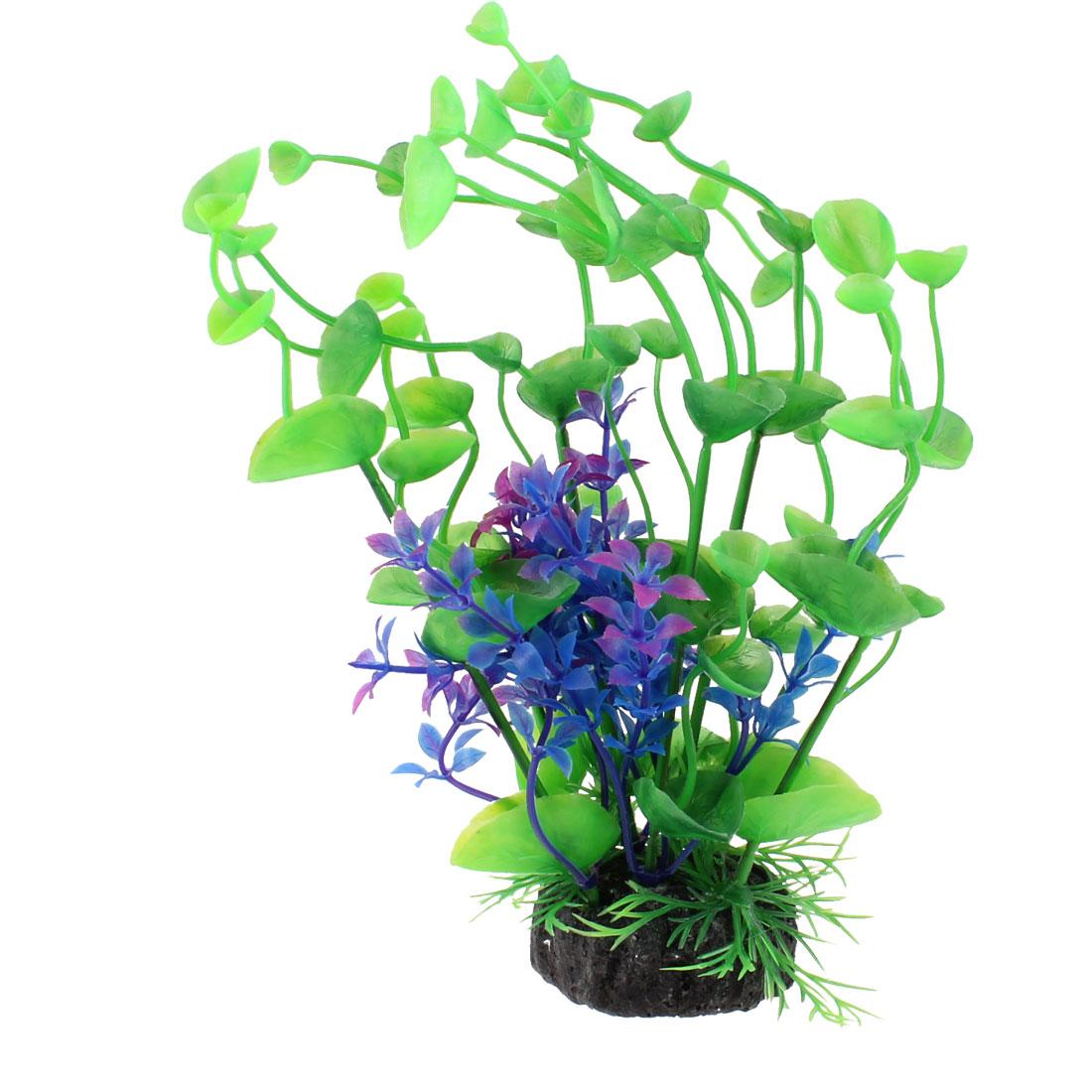 Ceramic Base Royal Blue Green Plastic Grass Plant Decoration for Aquarium