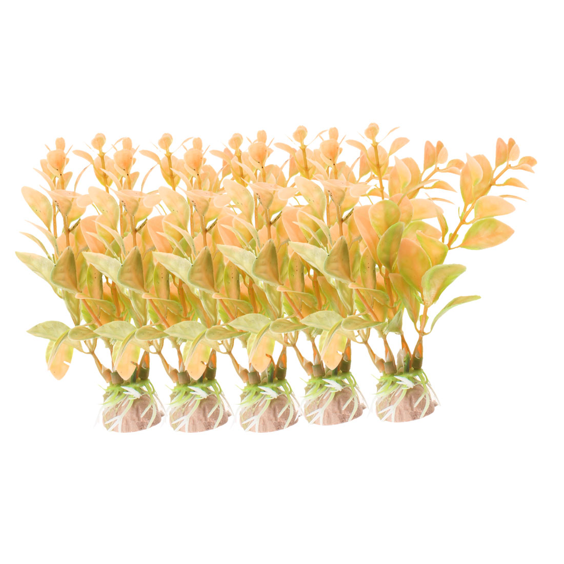 "Fish Tank Aquarium Decoration Apricot Plastic Underwater Plant 4.2"" High 5 Pcs"